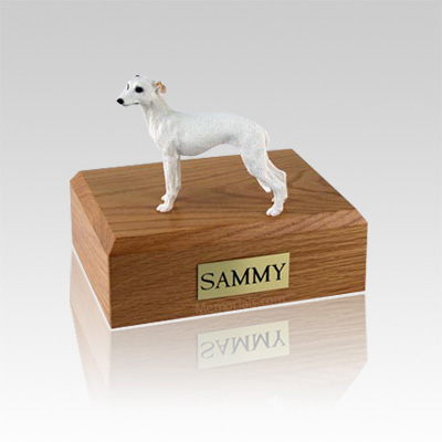 Whippet White Medium Dog Urn