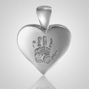 Heart Hand Print 14k White Gold Keepsake