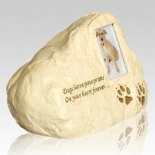 Dog Paw Print Rock Cremation Urn