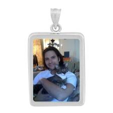 Rectangle Silver Photo Pendant