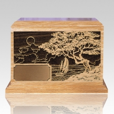 Seascape Oak Wood Cremation Urn