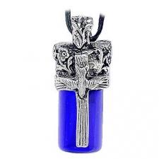 Dove & Cross Blue Cremation Necklace