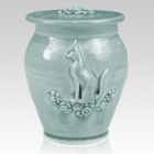 Kitty Variegated Blue Ceramic Cremation Urn