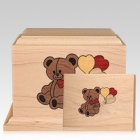 Teddy Children Wood Cremation Urns