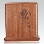 Rose Stem Mahogany Wood Cremation Urn