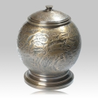 Brown Patina Sculpted Cremation Urn