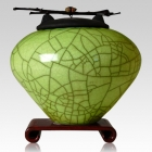 Raku Lime Green Cremation Urns